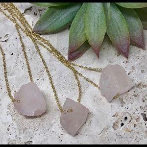 Raw Rose Quartz 14k Gold Crystal Necklace